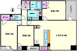 ワコーレ大阪新町タワーレジデンス 2階3LDKの間取り