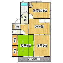 松ヶ丘中央ハイツA棟[201号室]の間取り