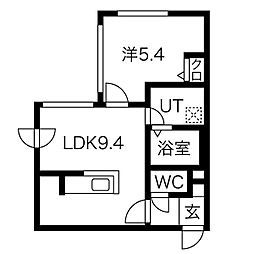 札幌市営東西線 西28丁目駅 徒歩7分の賃貸マンション 2階1LDKの間取り