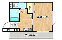 Osaka Metro谷町線 太子橋今市駅 徒歩2分の賃貸マンション 2階1Kの間取り