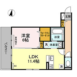 JR山陽本線 庭瀬駅 徒歩18分の賃貸アパート 2階1LDKの間取り