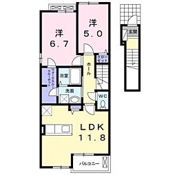 JR山陽本線 宇部駅 徒歩19分の賃貸アパート 2階2LDKの間取り