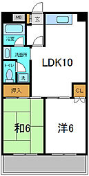 Osaka Metro谷町線 守口駅 徒歩10分の賃貸マンション 4階2LDKの間取り