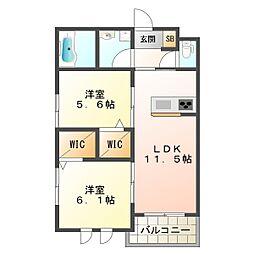 兵庫県神戸市垂水区坂上3丁目の賃貸アパートの間取り
