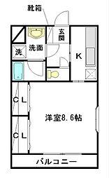 メープルハウス 3階1Kの間取り