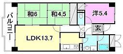 チサンマンション朝生田[407 号室号室]の間取り