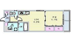 クリエオーレ螢池I 3階1LDKの間取り