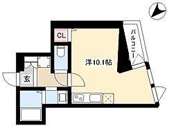 02/HM 5階ワンルームの間取り