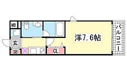 リアンジェ兵庫本町[701号室]の間取り
