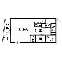 札幌市営東西線 バスセンター前駅 徒歩3分の賃貸マンション 11階1Kの間取り