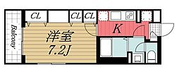 JR内房線 本千葉駅 徒歩11分の賃貸マンション 2階1Kの間取り