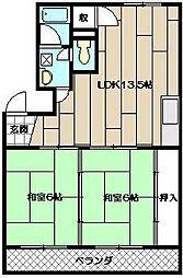 ニューハイツ赤坂[202号室]の間取り