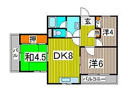 秋本マンション[1階]の間取り