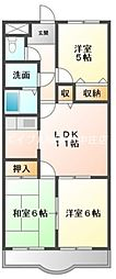岡山県倉敷市東富井丁目なしの賃貸マンションの間取り