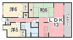 ライオンズマンション姫路市役所前[305号室]の間取り