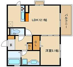 (仮称)D-room法善寺 A棟[1階]の間取り