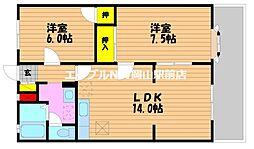 岡山県岡山市南区三浜町1の賃貸アパートの間取り