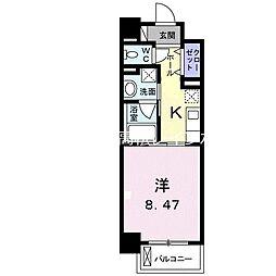 クラール花ノ宮 6階1Kの間取り