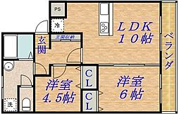 シャトー松原B棟[5階]の間取り