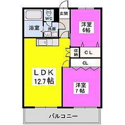 福岡県福岡市南区老司3丁目の賃貸マンションの間取り