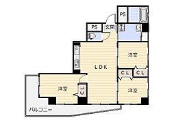 リクシア足原[5階]の間取り