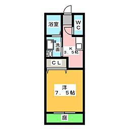愛知県額田郡幸田町大字大草字馬場の賃貸アパートの間取り
