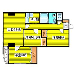 北海道札幌市東区北十六条東6丁目の賃貸マンションの間取り