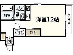 RIVERE吉島 2階ワンルームの間取り