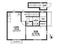 JR南武線 西国立駅 徒歩3分の賃貸アパート 2階1LDKの間取り