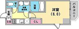 エステムコート神戸元町ヒルズ 14階1Kの間取り
