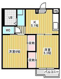 千葉県松戸市新松戸1丁目の賃貸マンションの間取り