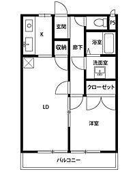 神奈川県相模原市南区西大沼4の賃貸アパートの間取り