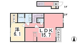 兵庫県姫路市余部区上川原の賃貸アパートの間取り