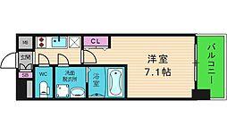 アドバンス大阪城グロリア 7階1Kの間取り
