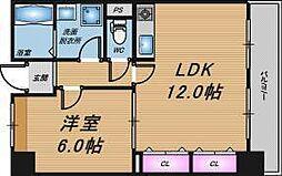 大阪府大阪市北区末広町の賃貸マンションの間取り