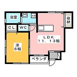 藤コーポ弥生壱番館[1階]の間取り