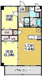 福岡県北九州市小倉南区高野4丁目の賃貸マンションの間取り
