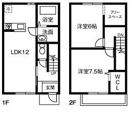 愛知県安城市高棚町郷の賃貸アパートの間取り