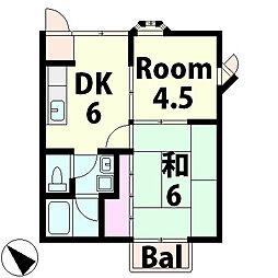 滋賀県湖南市岩根中央3丁目の賃貸アパートの間取り