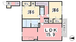 セジュールM・青山西[2階]の間取り