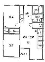 神奈川県横浜市戸塚区東俣野町の賃貸アパートの間取り