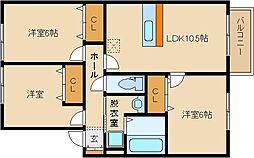 大阪府八尾市南木の本8丁目の賃貸アパートの間取り