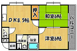 JR山陽本線 明石駅 バス22分 伊川谷出張所下車 徒歩5分の賃貸マンション 3階2DKの間取り