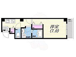 阪神本線 西宮駅 徒歩5分の賃貸マンション 3階1Kの間取り