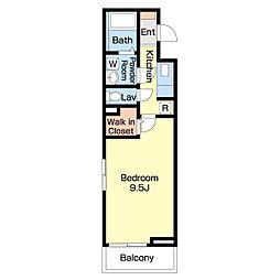 JR高徳線 栗林公園北口駅 徒歩14分の賃貸アパート 1階1Kの間取り