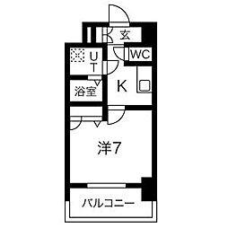 名古屋市営鶴舞線 大須観音駅 徒歩7分の賃貸マンション 7階1Kの間取り