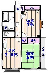 千葉県市川市香取1丁目の賃貸マンションの間取り