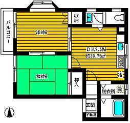 ローライズ駒沢[201号室]の間取り