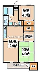 八戸ノ里グランドマンションA棟[1階]の間取り