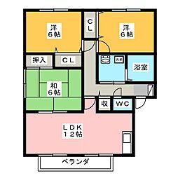 アネックス東沢田A[1階]の間取り
